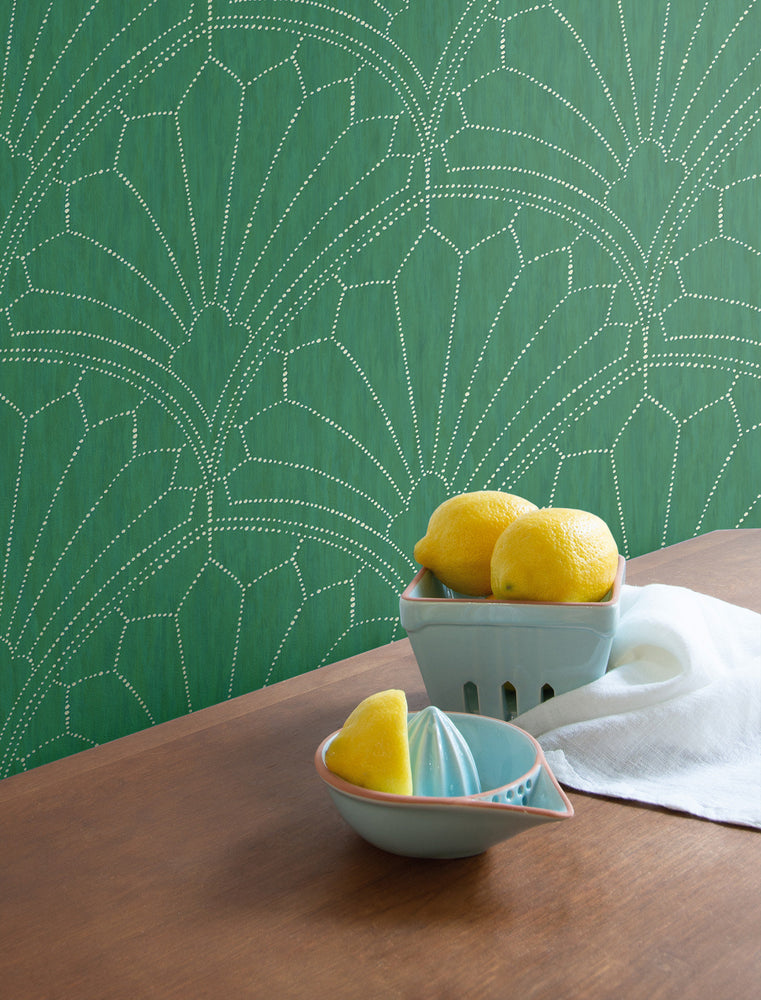 RY31504 scallop medallion geometric wallpaper from the Boho Rhapsody collection by Seabrook Designs