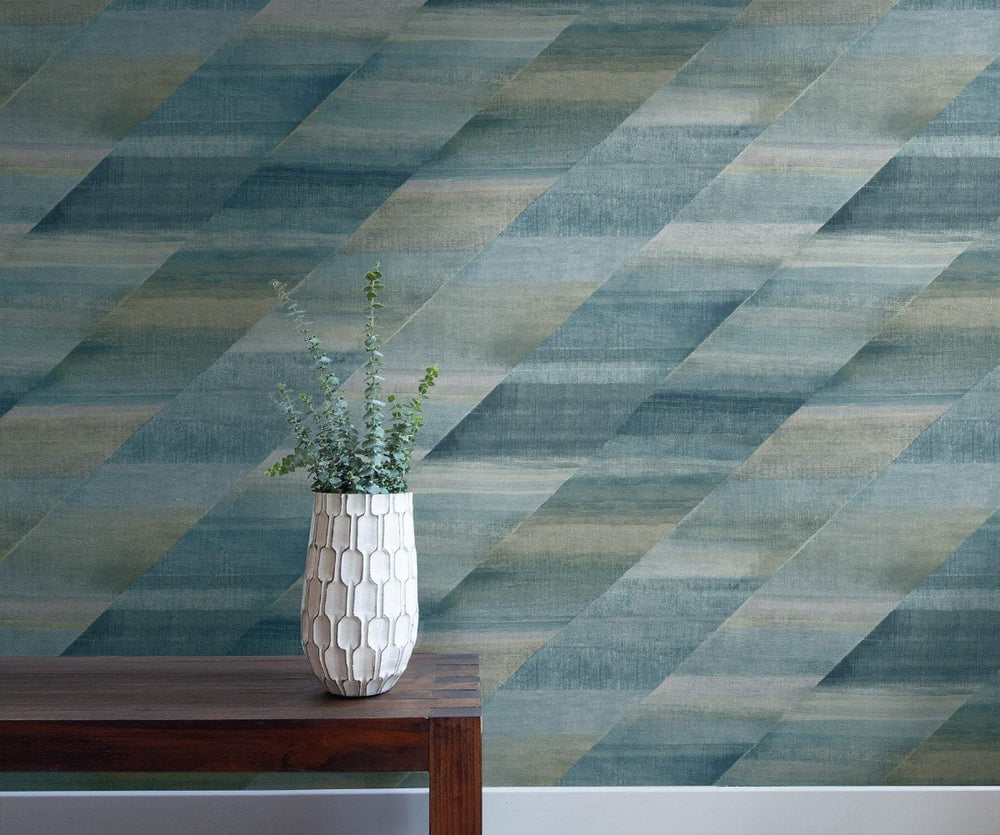 RY30304 rainbow diagonals striped wallpaper from the Boho Rhapsody collection by Seabrook Designs