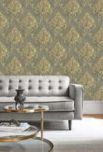 MT81605 Telluride damask wallpaper decor from the Montage collection by Seabrook Designs