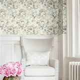 AR30500 brushstroke garden floral wallpaper living room from the Nouveau collection by Seabrook Designs
