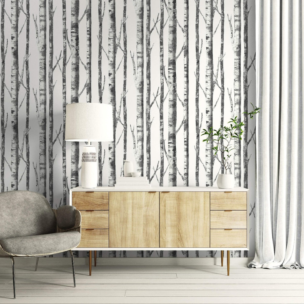 black and white birch tree wallpaper living room