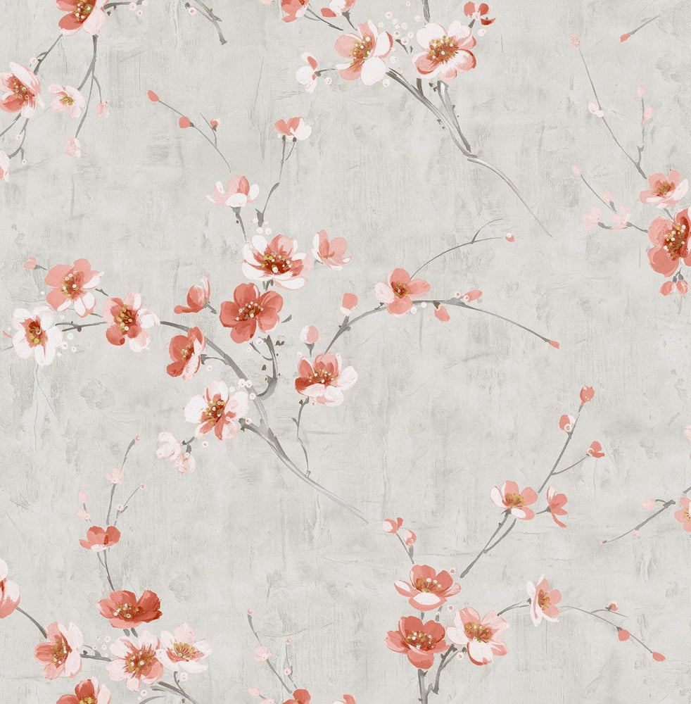 AI41608 pink silk road floral wallpaper from the Koi collection by Seabrook Designs