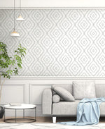 MB30905 living room gray seaside ogee wallpaper from the Beach House collection by Seabrook Designs