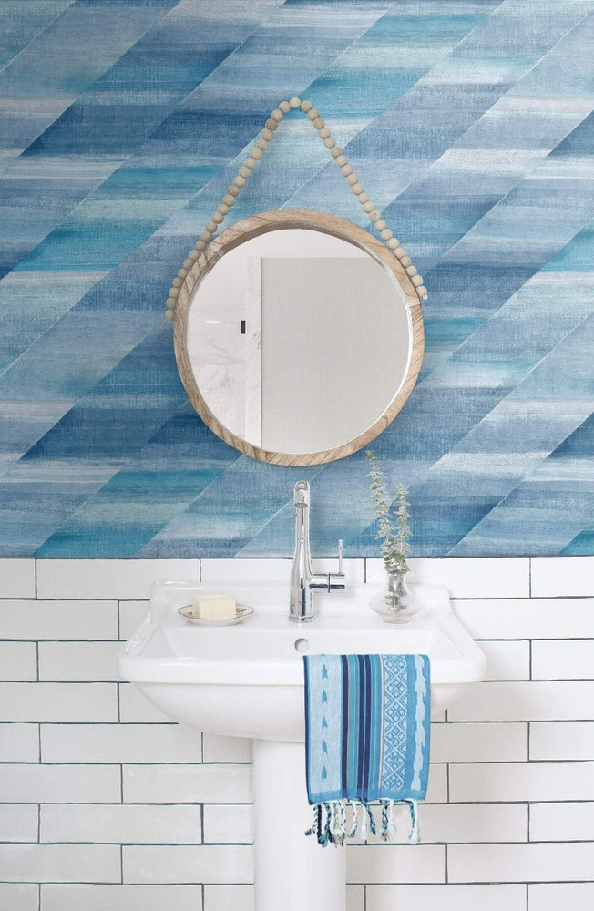 RY30302 bathroom rainbow diagonals striped wallpaper from the Boho Rhapsody collection by Seabrook Designs