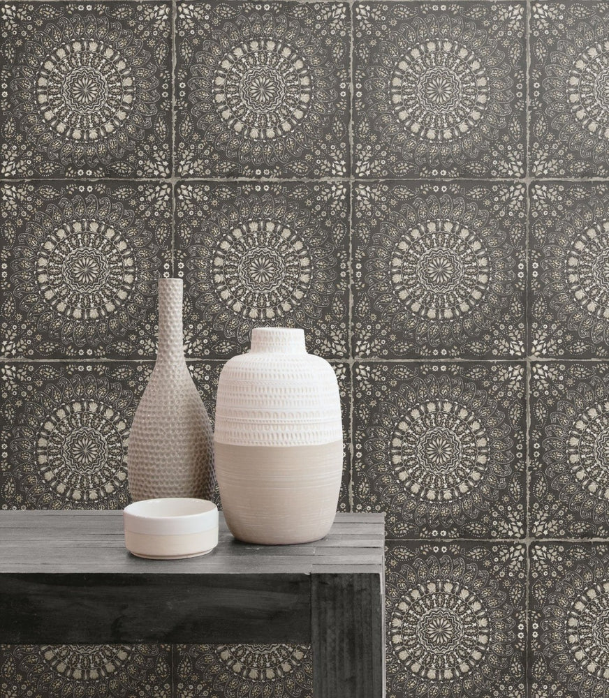 RY30700 mandala tile rustic wallpaper from the Boho Rhapsody collection by Seabrook Designs