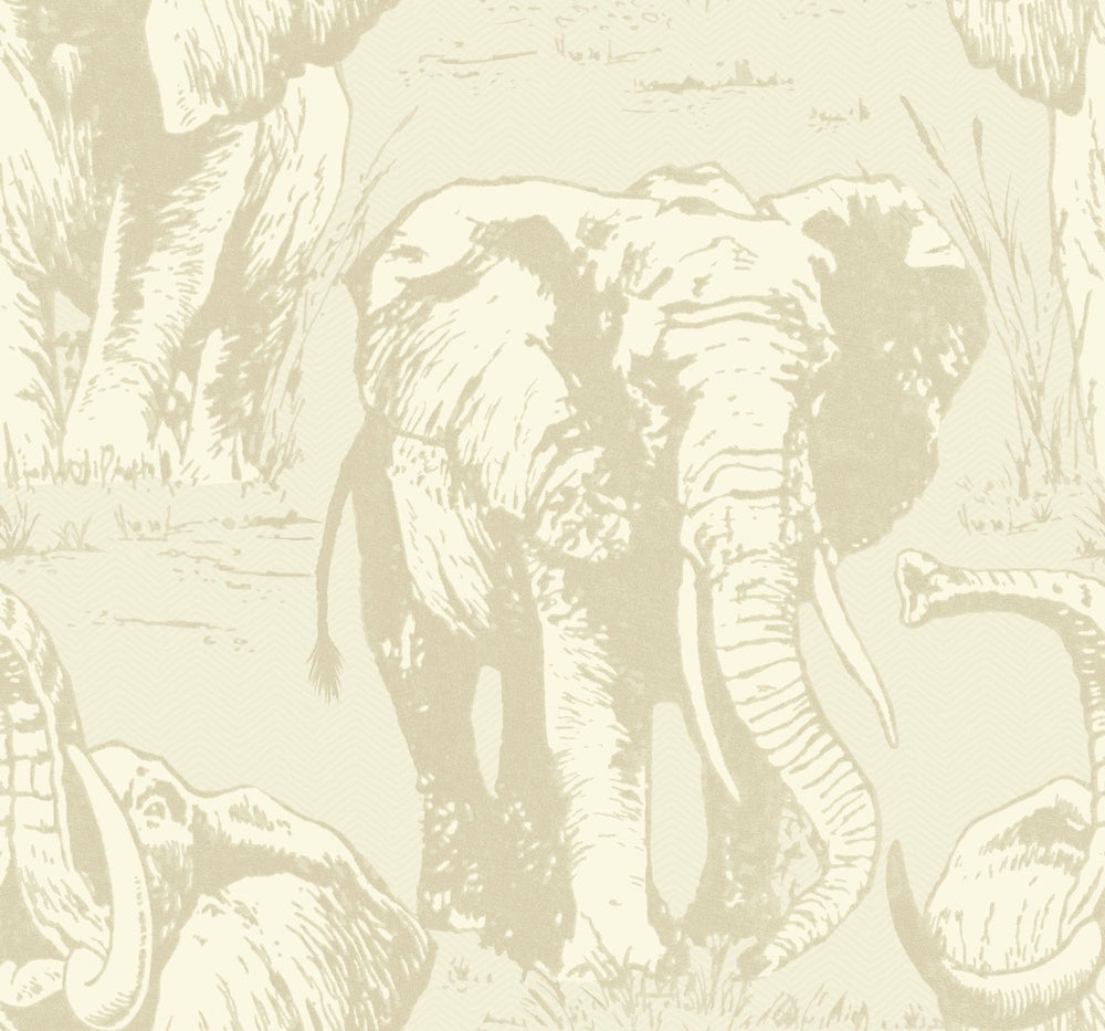 CR22100 Jefferson elephant wallpaper from the Island collection by Carl Robinson