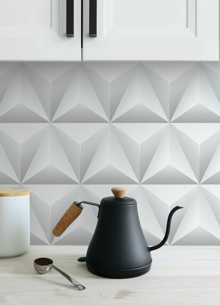 NW32800 triangle origami geometric peel and stick backsplash removable wallpaper by NextWall