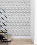 NW32800 triangle origami geometric staircase peel and stick removable wallpaper by NextWall