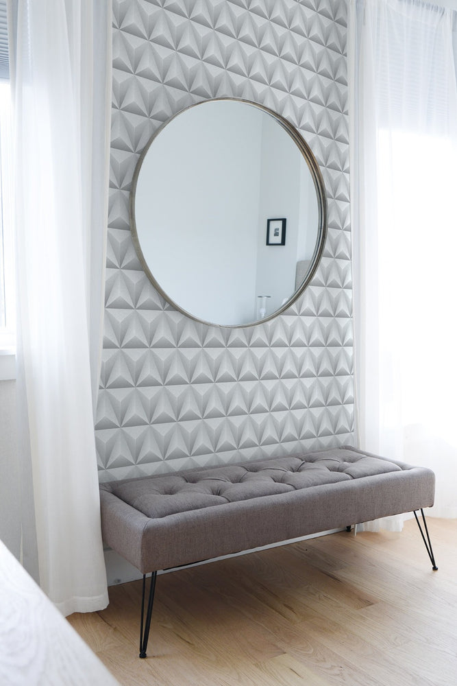 NW32800 triangle origami geometric bedroom peel and stick removable wallpaper by NextWall