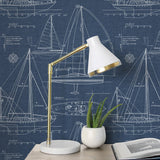 NW32902 sailboat peel and stick wallpaper desk