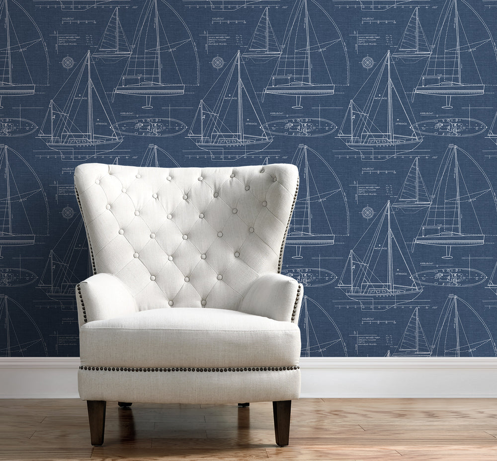 NW32902 living room sailboat peel and stick removable self adhesive wallpaper