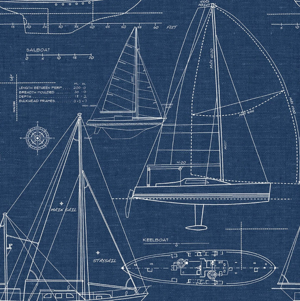 NW32902 sailboat coastal peel and stick removable wallpaper by NextWall