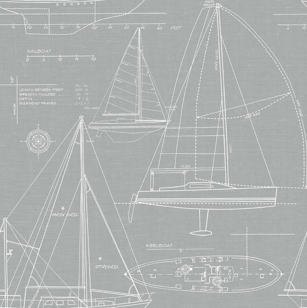 NW32908 gray sailboat coastal peel and stick removable wallpaper by NextWall
