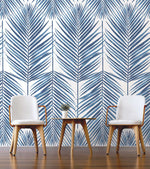 NZ10002M paradise palm leaf blue peel and stick wall mural decor from NextWall