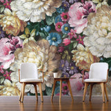 NZ10706M english garden floral peel and stick wall mural living rool from NextWall