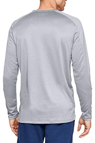 Under Armour mens Lighter Longer Long Sleeve Crew Steel Light Heather (035)/Black Small - BeesActive Australia