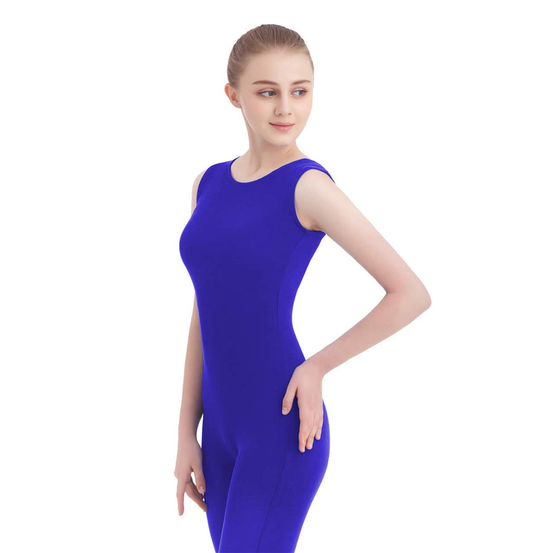 [AUSTRALIA] - Unisex Scoop Neck Footed/Footless Long Sleeve/Sleeveless Lycra Spandex Unitard (Small, Royal Blue New (Tank Top))