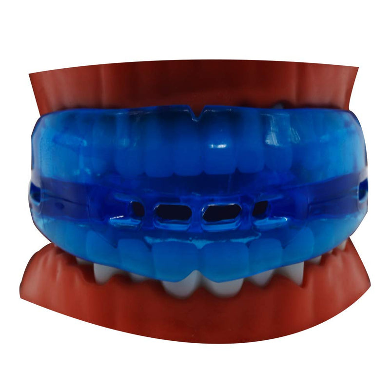 Sport Mouth Guard - Youth Mouthguard for Braces - Sparring Mouth Guard - Large Size, Upper and Lower Teeth Protection, Premium Quality No Boiling Required blue - BeesActive Australia