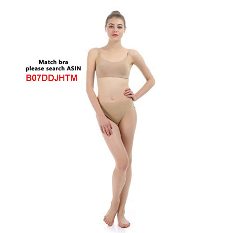 [AUSTRALIA] - iMucci 3 pcs Beige Professional Girl Ballet Dance Briefs Women - Velvet Cotton Mid Rise Waist Panty Gymnastics Underpants (Adults S)