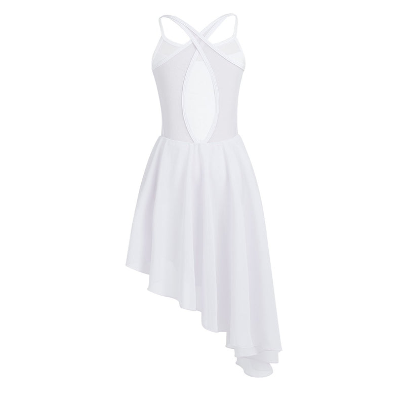[AUSTRALIA] - CHICTRY Kids Girl's Cutout Back Lyrical Dance Dress Irregular High-Low Skirt Ballroom Dancing Costumes 11 / 12 White