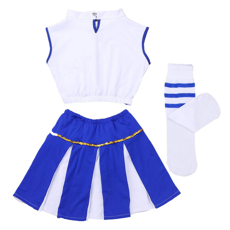 [AUSTRALIA] - iiniim Girls Cheer Leader Uniform Costume Soccer Baby Outfit Cheerleading Crop Top with Skirt Stockings Set Flame Blue 7-8