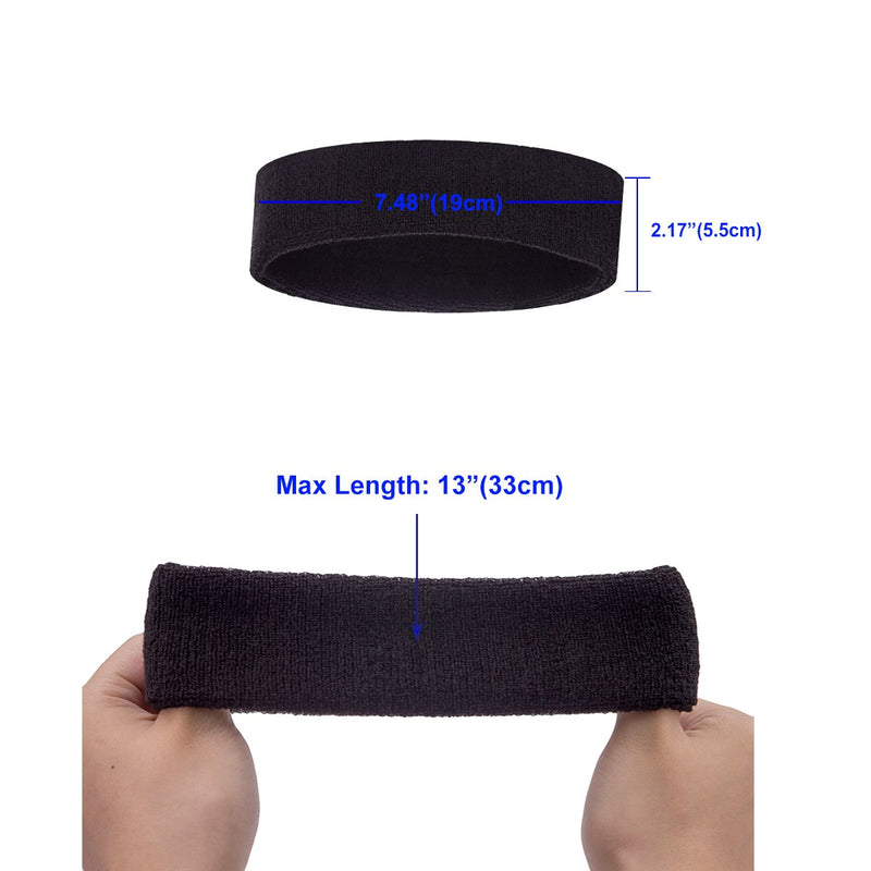 Outton Sweatbands Headbands for Men & Women Sports - Sweatband Athletic Cotton Soft Moisture Wicking Stretchy Sweat Bands for Tennis, Basketball, Running, Yoga, Gym, Working Out 8 PCS Mixed Color 8 Pcs-2 for Each Color - BeesActive Australia