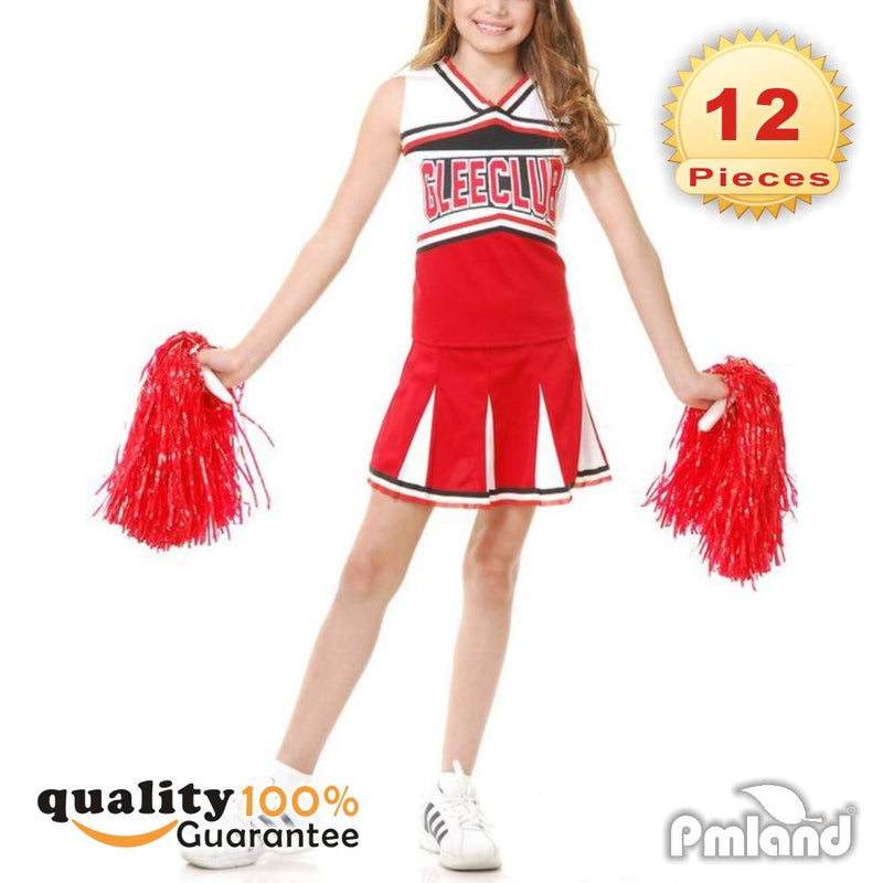 [AUSTRALIA] - PMLAND Red Cheerleading Pom Poms for Graduation Sport Themed Party Game Supplies -12 Pieces (6 Pairs)