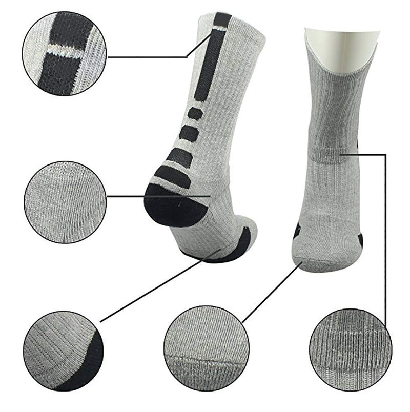 NANOOER 4 Pack Mens Basketball Socks Cushion Athletic Long Sports Outdoor Socks Compression Sock 6.5-11.5 One Size 4 Pack Basketball Socks - BeesActive Australia