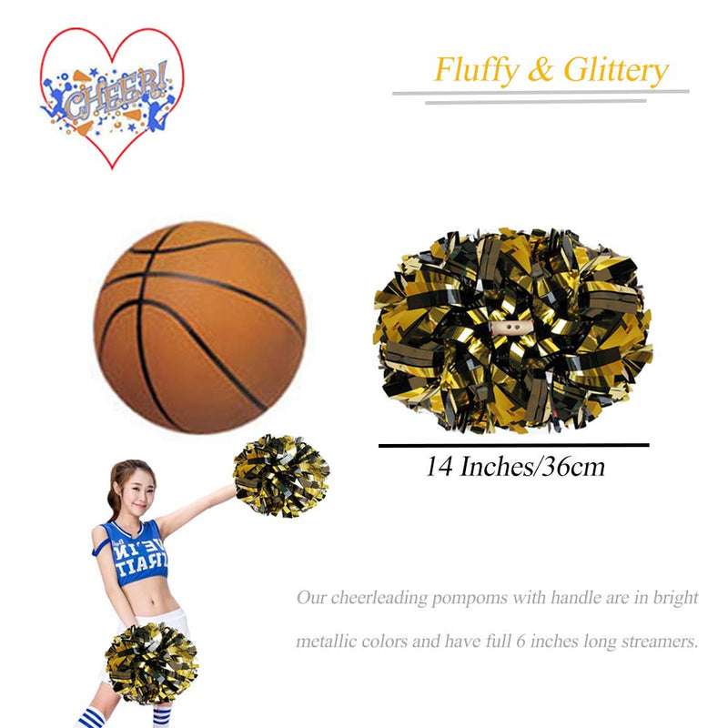 [AUSTRALIA] - CREATIEE-PRO 2Pcs Metallic Cheerleading Pom Poms, 1 Pair Cheerleader Cheering Squad Pompoms for Kids Boy Girl Adults School Sports Games Team Spirit Cheer Dance Party(6 Inches) Black-Gold