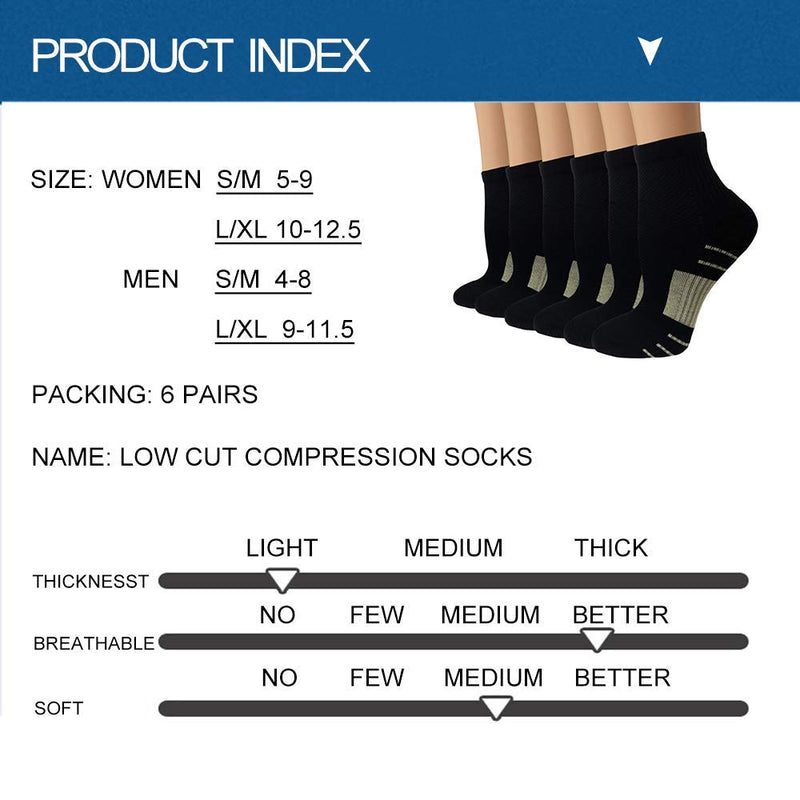 Copper Plantar Fasciitis Running Compression Socks for Men & Women – 3/6 Pairs Arch Support Ankle Socks for Athletic&Travel Large / X-Large A0 - 6 Black - BeesActive Australia