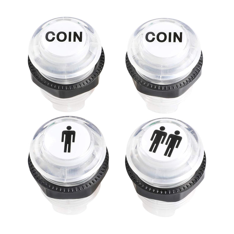 Easyget 4 Pcs/Lot 5V LED Illuminated Push Button 1P / 2P Player Start Buttons / 2X Coin Buttons for MAME / Jamma / Fighting Games / Arcade Video Games - BeesActive Australia