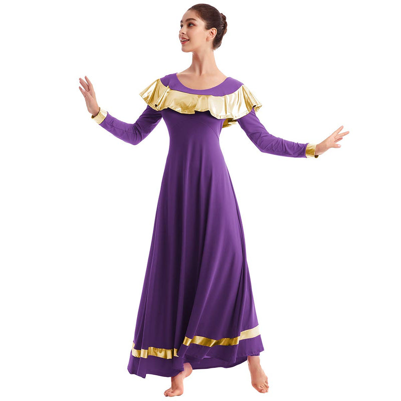 [AUSTRALIA] - IBAKOM Womens Praise Liturgical Worship Dance Dress Ruffle Metallic Gold Color Block Loose Fit Full Length Dancewear Purple+gold XX-Large