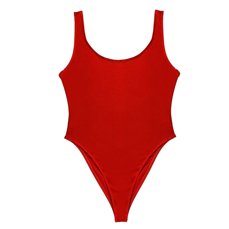 [AUSTRALIA] - Alvivi Women One Piece High Cut Backless Swimsuits Swimwear Solid Ballet Dance Unitard Bodysuit Dancewear Red Medium