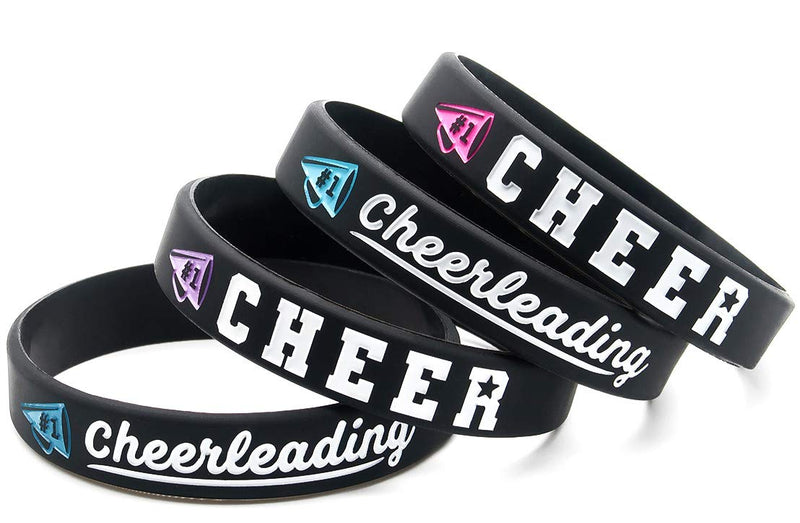 [AUSTRALIA] - (4-Pack) Cheerleading Inspirational Bracelets - Push Your Limits, Believe You Can, Follow Your Heart, Determination - Cheer Gifts, Cheerleading Jewelry Accessories for Cheerleaders Girls Women