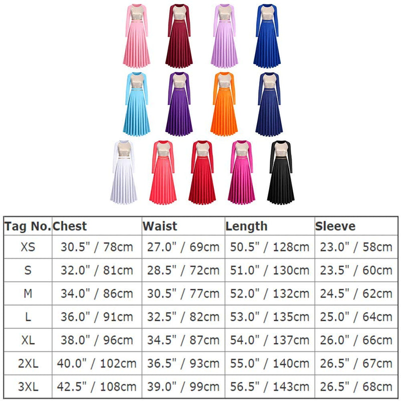 [AUSTRALIA] - Praise Dance Dresses for Women Gold Metallic Color Block Lyrical Worship Dancewear Loose Fit Full Length Long Sleeve Dance Dress Robe Church Praisewear with Belt Red XL