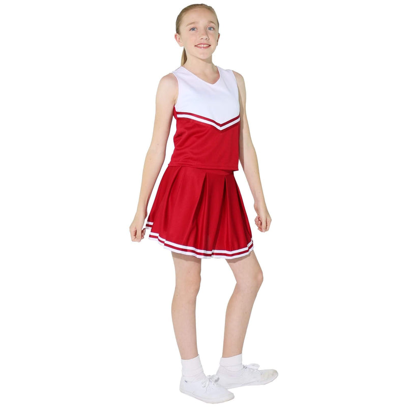 [AUSTRALIA] - Danzcue Child Knit Pleat Cheerlearding Uniform Skirt, Scarlet-White, Small