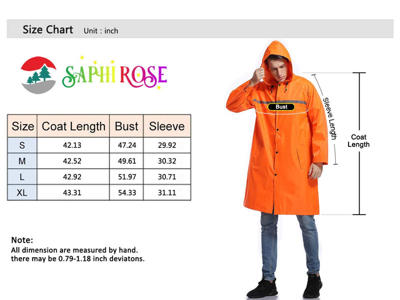 [AUSTRALIA] - Mens Long Hooded Safety Rain Jacket Waterproof Emergency Raincoat Poncho Orange Medium