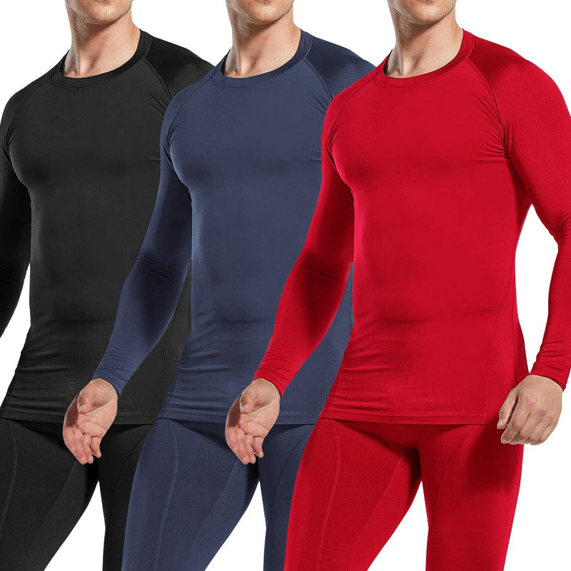 [AUSTRALIA] - ATHLIO Men's (Pack of 1 or 3) Thermal Wintergear Compression Baselayer Long Sleeve Top Active 3pack(lyd03) - Black/ Charcoal/ Red Large