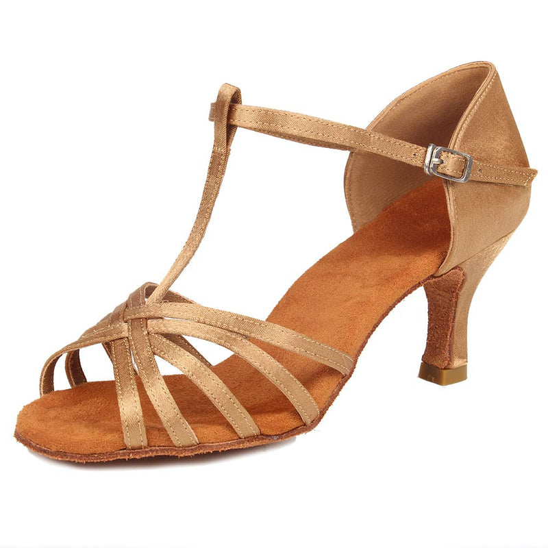 "[AUSTRALIA] - SWDZM Women's Standard Satin Latin Dance Shoes Ballroom Performance T-Strap Shoes Model-SS331 7 Beige-2 3/4"" Heels"