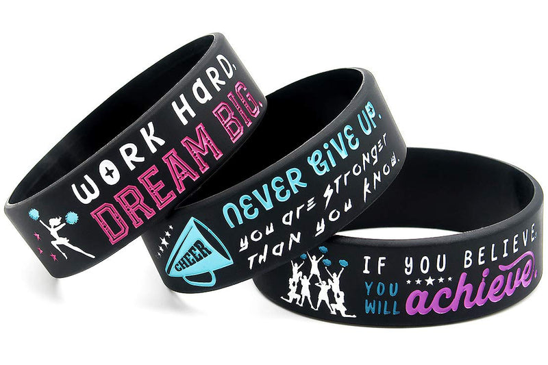 [AUSTRALIA] - (6-Pack) Motivational Cheerleading Wristbands - Cheer Gifts Jewelry Accessories Awards for Cheerleaders Cheer Squad Moms Coaches - Ladies Size for Women Tween Teen Girls