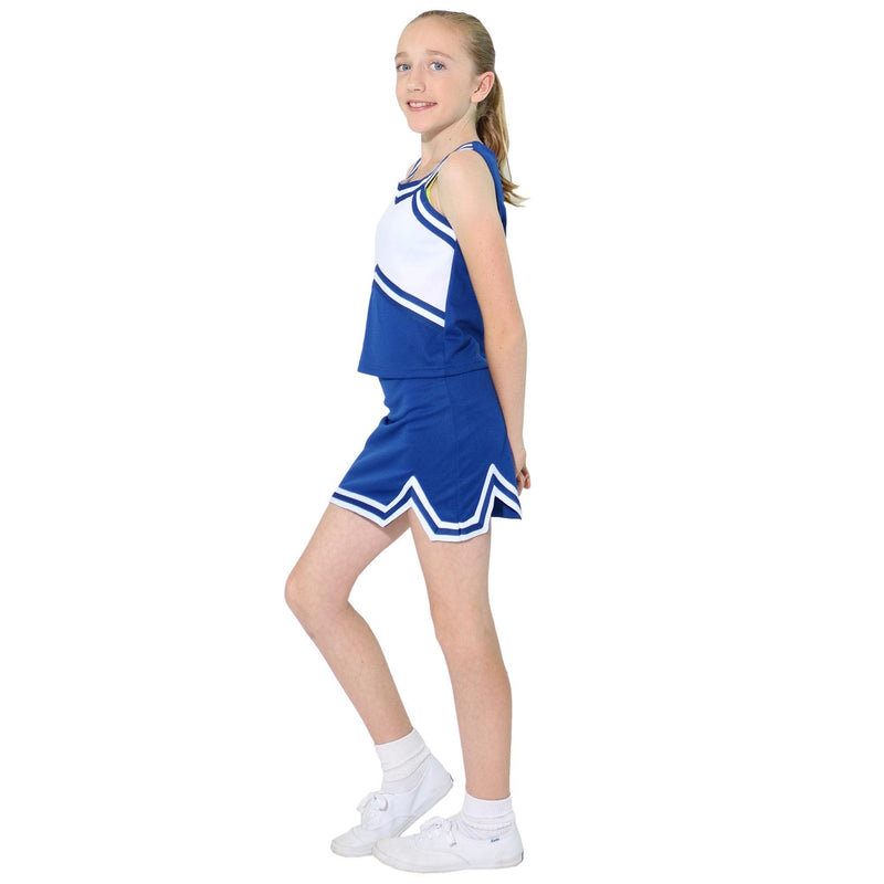 [AUSTRALIA] - Danzcue Girls Sweetheart Cheerleaders Uniform Shell Top X-Small Royal/White