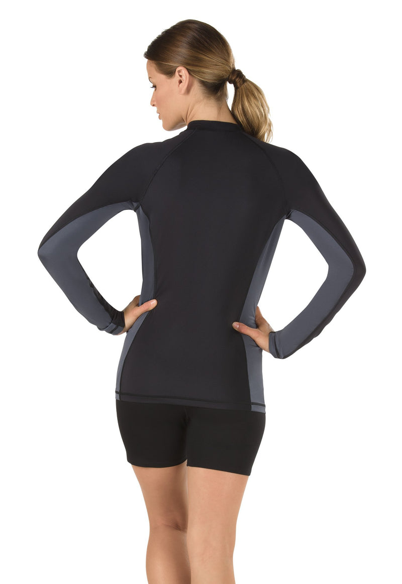 Speedo Uv Swim Shirt Long Sleeve Rashguard Long Sleeve Speedo Black/Grey X-Large - BeesActive Australia
