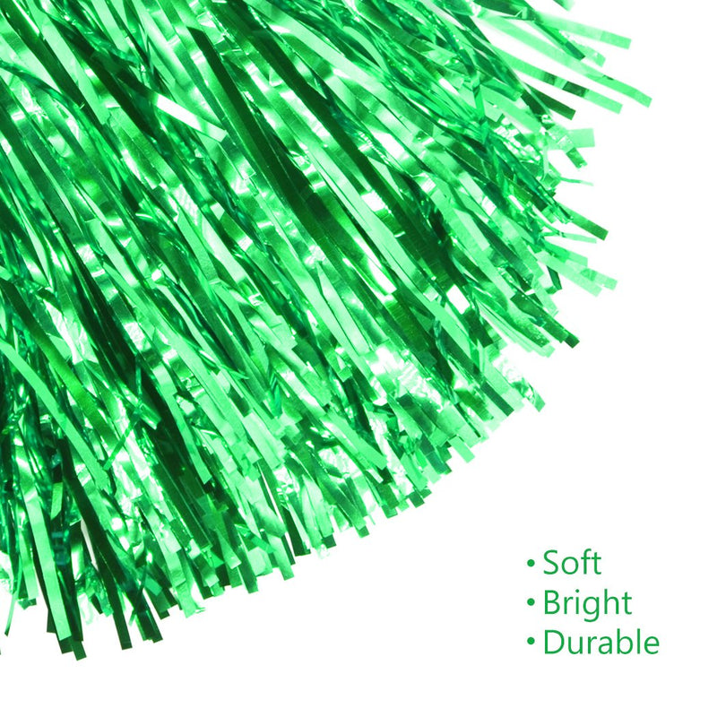 [AUSTRALIA] - Creatiee 1 Dozen Premium Cheerleading Pom Poms, 12Pcs Hand Flowers Cheerleader Pompoms for Sports Cheers Ball Dance Fancy Dress Night Party(Green)