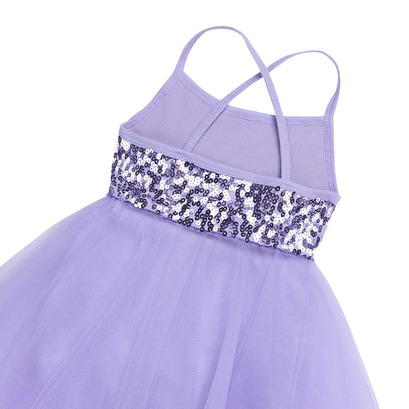 [AUSTRALIA] - Yeahdor Girls' Kids Shiny Sequins Camisole Tutu Skirted Leotard Ballet Dance Performance Costumes Dresses Asymmetric Purple 8 / 10