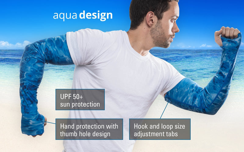 [AUSTRALIA] - Aqua Design Arm Sun Sleeves for Men UV Protection Forearm Compression Covers Misty Sky 2XL/XL