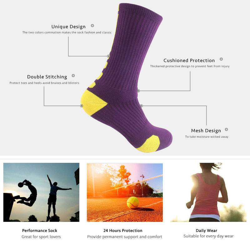 [AUSTRALIA] - Boys Sock Basketball Soccer Hiking Ski Athletic Outdoor Sports Thick Calf High Crew Socks Multipack 6 Pack - Style C