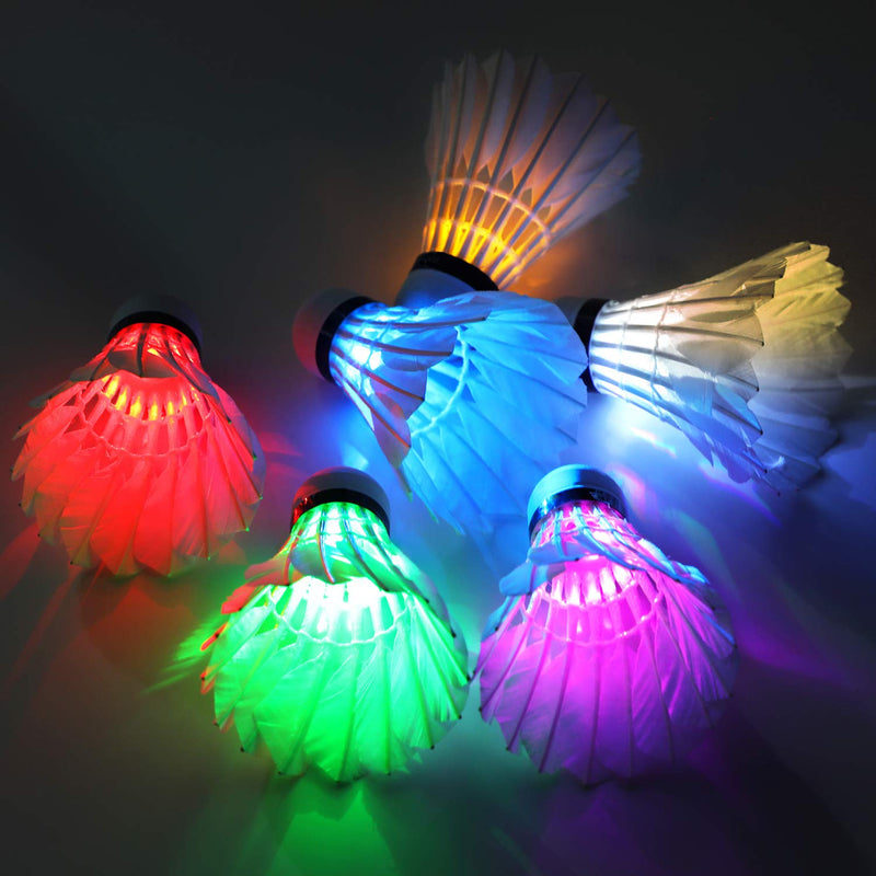 Ohuhu LED Badminton Shuttlecocks, Glow in The Dark Night Badminton Birdies Lighting Birdie for Outdoor Indoor Sports Activities, 4-Pack Feather,4-pack - BeesActive Australia