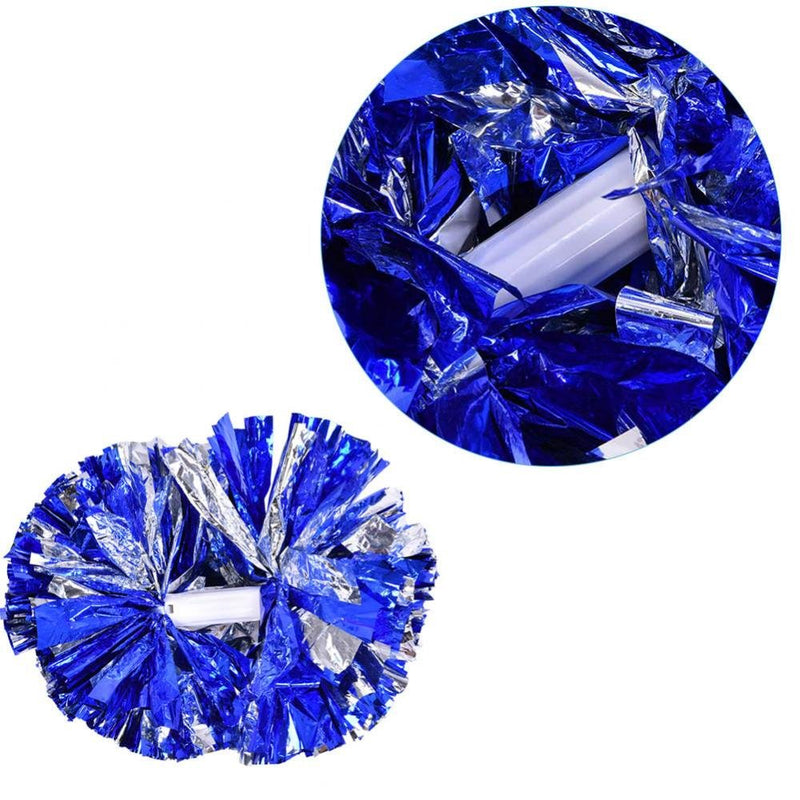 [AUSTRALIA] - VGEBY1 Cheerleader Pom Poms, 1 Pair 8 Colors Cheer Poms Pack Cheerleading Metallic Foil for Dance Party,Sports Competition Blue + silver