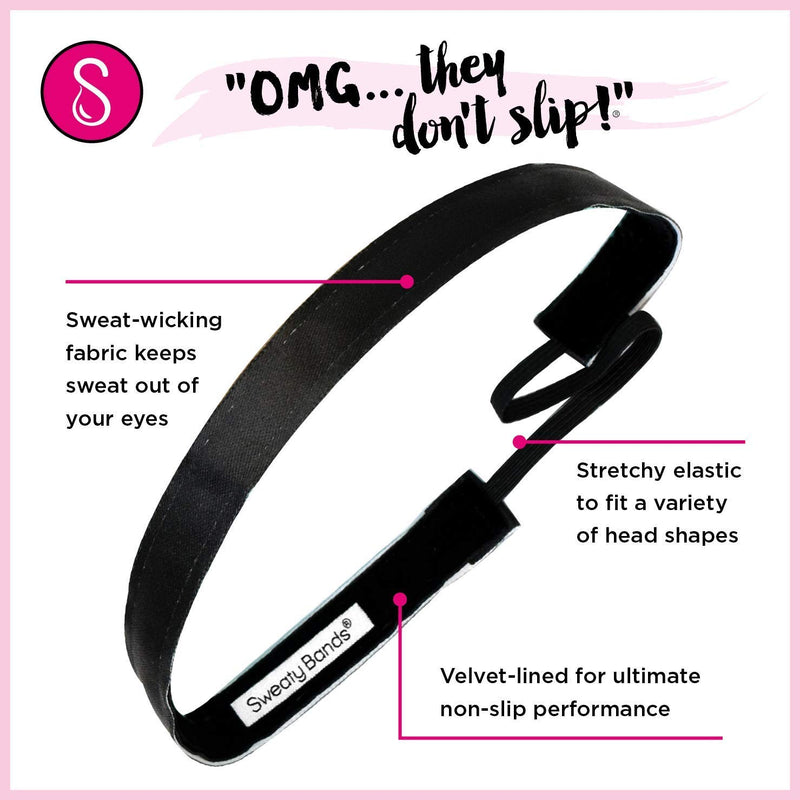 [AUSTRALIA] - Sweaty Bands Womens Girls Headband - Non-Slip Velvet-Lined Exercise Hairband - Wicked Exclusive Black 1-Inch
