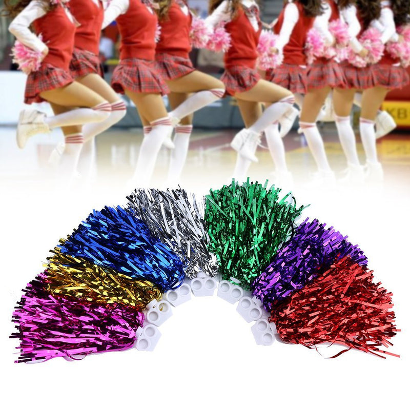 [AUSTRALIA] - Vbestlife Cheerleader Pom Poms 12pcs Cheerleading Poms Metallic Foil Pom Poms Squad Cheer Sports Party Dance Useful Accessories (Gold)
